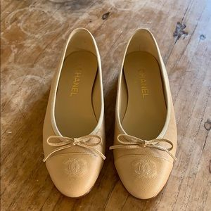 NIB CHANEL Beige Caviar Leather Flats 38